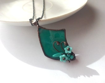 Stained glass necklace, gift for mother, turquoise pendant, artistic jewelry, engagement gift, glass flowers, unique handmade