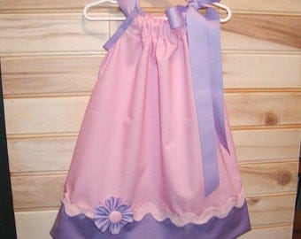 Pink N Purple...Girls Pillowcase Dress Infant toddler sizes 0-6, 6-12, 12-18, 18-24 months, 2T, 3T..Bigger sizes AVAILABLE
