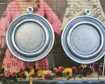 FOUR Round ridged 17mm bezel charms with hoop, Sterling Silver Finish