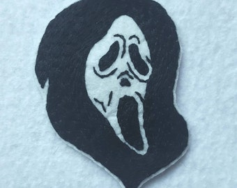 Glow in the dark Scream Ghost Face hand embroidered patch