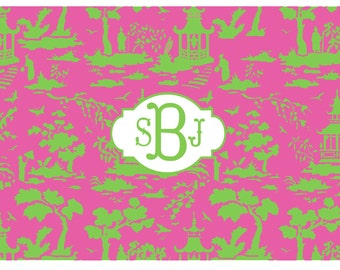 Monogram Green Chinoiserie Disposable Placemats - set of 12