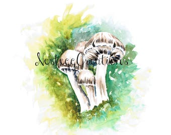 Wateracolor Painting Woodland Mushrooms Original Botanical Wall Art Home Decor Fathers Day