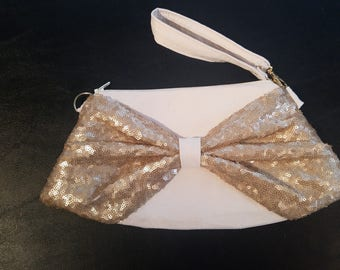 Mini Bow Clutch Wristlet - Faux Ivory Suede Body, Champagne Sequin Bow, Ivory Zipper, Black/Gold/White Chevron Lining or Floral Lining