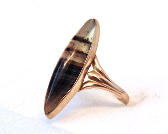 Victorian Banded Agate Navette 10K Yellow Gold Ring, Antique, Marquise Shaped, One of a Kind Ring