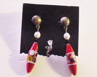 Vintage Bohemian Glass Dangle Earrings Red Floral White Ruby Cabochon Pewter Boho