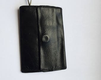 Vintage Leather Key Case Hickok California Saddle Leather black
