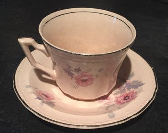 Alice Ann May glow 1930 Edwin M. Knowles  Cup and Saucer China Damaged price reduced