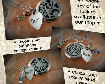 Mother Essential Oil Necklace - Aromatherapy Necklace - Diffuser Necklace - Stainless Diffuser - Mother Necklace - Mom Necklace - Birthstone