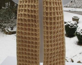 """Crochet Scarf Waffle Stitch - Beige - 6"""" X 64""""- Neck warmer"""
