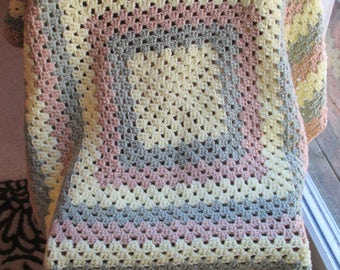 "Granny Square Afghan Lapghan - 42"" X 42""  - Throw - Blanket - Yellow, Brown, Green"