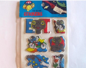 ON SALE Rare Vintage ET The Extra Terrestrial Puffy Stickers - 80's New in the Package Alien Ufo E.T.