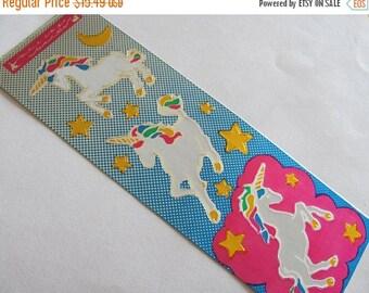 SALE Cardesign Toots Unicorn Vintage Sticker Strip - 80's Metallic Foil Silver Reflective Fantasy Star Moon Fuchsia Gold Rainbow Mane