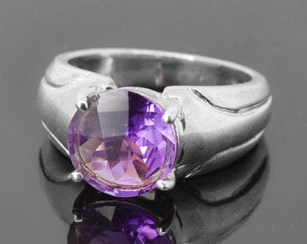 Amethyst Ring, 3.3 ct, Purple, Birthstone Ring, February, Gemstone Ring, Sterling Silver Ring, Solitaire Ring, Statement Ring