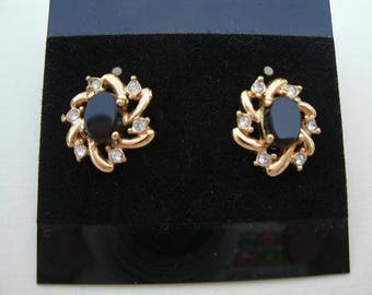 Vintage Black Rhinestone with Clear Rhinestone Accents Goldtone Earrings - Small Post Style Earrings