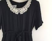 Vintage 90's Lace Collar Black Midi Dress M