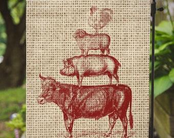 Farm Friends |  Cow Pig Sheep Chicken | House Flag or Flag Lawn Decor | Garden or Large House Flag | Size via Dropdown | Convo for Custom
