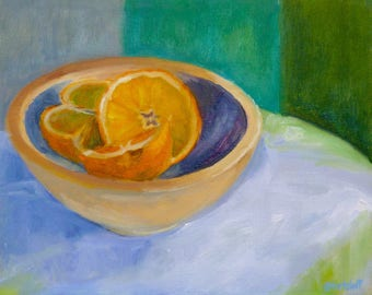 Colorful Small Still Life Oil Painting Oranges in Wood Bowl