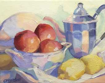 Still Life and Color Original Small Oil Painting on Canvas
