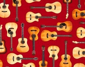 Guitars on Red from Robert Kaufman's In Tune Collection