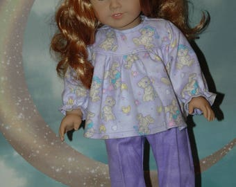 American, made, girl, doll, pajamas, flannel, 18 inch