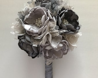 Shades of Grey Bridal Bouquet - Fabric Flower Bouquet - Handmade Fabric Flowers, Fabric Bouquet, Heirloom Bouquet, Medium Size Pictured