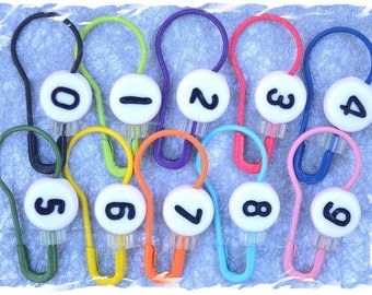 CountingPins Number Stitch Markers / Locking Stitch Markers / Coiless Safety Pins -- pear shaped bulb shaped pins with numbers