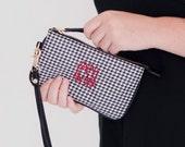 Monogrammed Wristlet Wallet, Cell Phone Wallet Wristlet, Monogrammed Wallets for Women, Monogram ID Holder Wallet, Houndstooth Purse