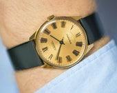 Quartz wristwatch Rocket, unisex watch quartz, men watch gold plated, Quality mark USSR watch, slim watch minimal, premium leather strap new