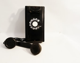 Antique Telephone Northern Electric Wall Telephone  Rotary Dial Black Wall Phone 1920 Northern Electric Phone  Old Rotary Dial Phone