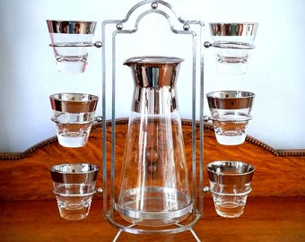 60s THORPE Cocktail Set - Drink Pitcher with 6 Cocktail Glasses - Wide Gleaming Silvered Rims - Chrome Stand - DOROTHY THORPE