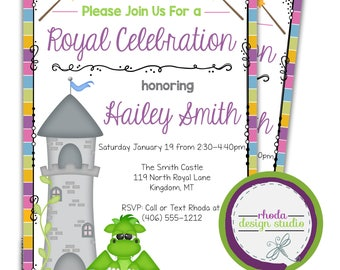 Princess Birthday Party Invitation Dragon & Castle Invite Little Girl 5x7 Digital