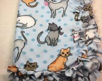Baby Fleece Blanket, Cat Theme, Kittens, Car Seat Blanket, Stroller Throw