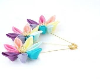 Set of Three Pastel Rainbow Buttonholes - Rainbow Lapel Pins - Pastel Wedding Boutonnieres - Rainbow Wedding Accessories - Wedding Kanzashi
