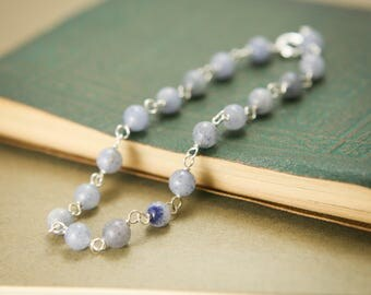 Blue Aventurine Gemstone Bracelet - Sterling Silver Wire Wrapped Simple Delicate Jewelry - Success, Courage, Balance, Healing