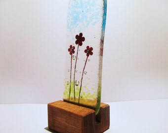 Fused Glass Mini Copper Flowers in stand Kiln Fired Gift
