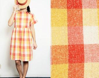 15% SALE (regular price 86,4 dollars) Checked red/white/yellow Smock Dress [Yoko dress/Red-yellow]