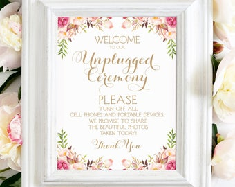 Unplugged Ceremony Sign | 11 x 14 Sign | DIY Printable | Vintage | Antique Gold | Romantic Blooms | PDF and JPG Files | Instant Download