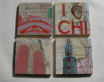 Chicago Themed Wood Coasters Set of 4, Sears/Willis Tower, Marina City, Bean