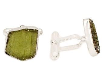 Moldavite Tektite Medeorite 925 Sterling Silver cuff links