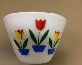 Vintage Anchor Hocking Tulip Oven Ware Fire King White Glass Mixing Bowl Tulips Red Yellow Blue Green Number 8