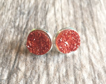 Red Druzy Earrings,  Resin Druzy Earrings, Gemstone Earrings, Druzy Stud Earrings, Red Druzy Gold Jewelry