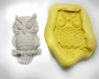 owl silicon mold - silicon mold, flexible Silicone mold - push mold -  food supplies mold, clay supplies molds,  #  63  s
