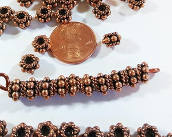 CLOSEOUT Copper Spacer Beads, 6mm Shiny Copper Filigree Round & 6mm Copper Bali Beads