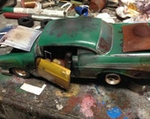 Scale model car,green Chevy,rat rod,classicwrecks