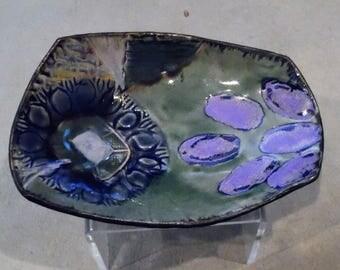 School of Fish - Handmade Ceramic, Textured Plate, Trinket Dish, Dessert Plate