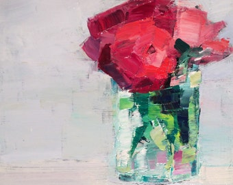 "Beautiful"" Still Life With Ranunculus""mosaic look expressionist Still life alla prima oil Painting impressionist"