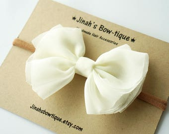 Chiffon Bow in Ivory- Headband Nylon Skinny Headband or Hair Clip