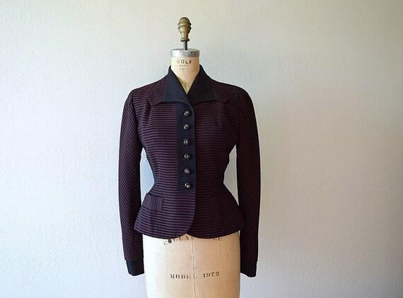1940s 1950s blazer . vintage 40s 50s striped suit jacket