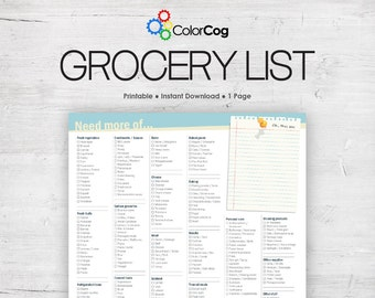Grocery List Printable PDF Light Blue and Tan