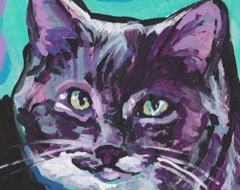 "CAT portrait art print of bright colorful pop art painting 8x8"""